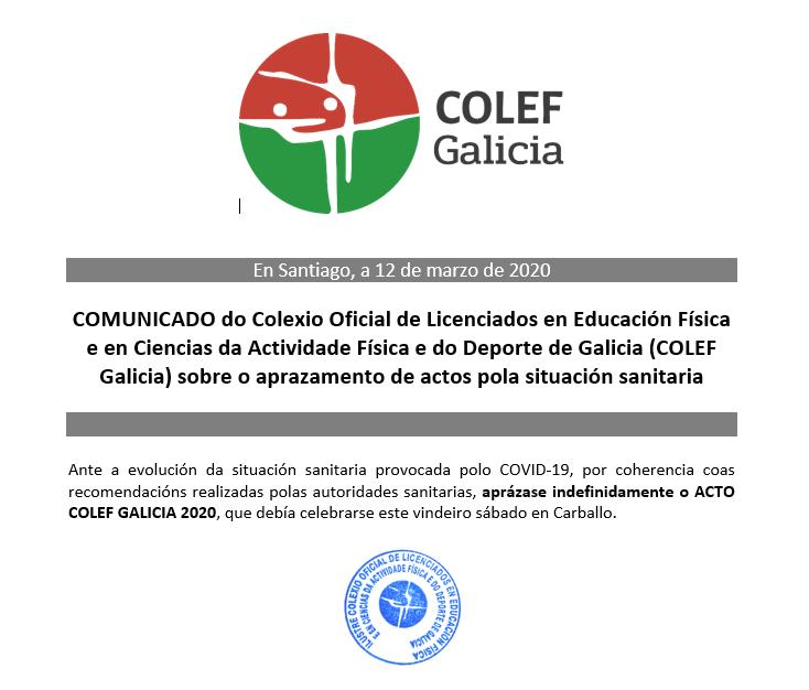 Comunicado COLEF Galicia aprazamento Acto 2020 Carballo (12/03/2020)