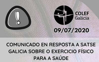 RESPOSTA A SATSE GALICIA SOBRE O ÁMBITO DO EXERCICIO FÍSICO PARA A SAÚDE