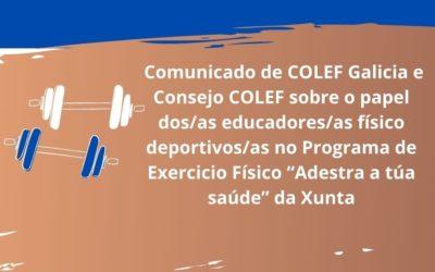 """COMUNICADO CONXUNTO SOBRE O PAPEL DOS EFD NO PROGRAMA """"A TÚA SAÚDE"""""""