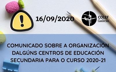 COMUNICADO SOBRE A ORGANIZACIÓN DALGÚNS CENTROS DE E. SECUNDARIA