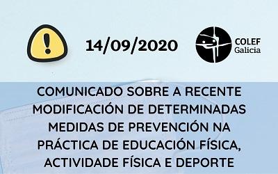 COMUNICADO SOBRE MEDIDAS PREVENTIVAS NO DEPORTE EN RELACIÓN Á ORDE 9 SETEMBRO