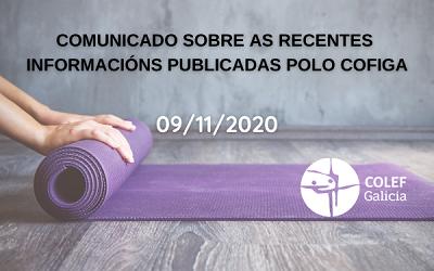 COMUNICADO SOBRE RECENTES INFORMACIÓNS DO COFIGA (10/11/2020)