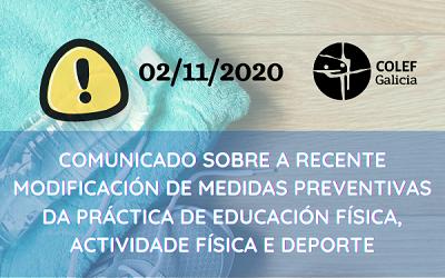 COMUNICADO SOBRE MEDIDAS PREVENTIVAS NO DEPORTE DA ORDE DE 21 OUTUBRO