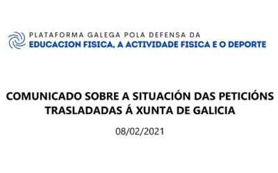 COMUNICADO SOBRE AS PETICIÓNS REMITIDAS Á XUNTA PLATAFORMAEFAFD (08/02/2021)