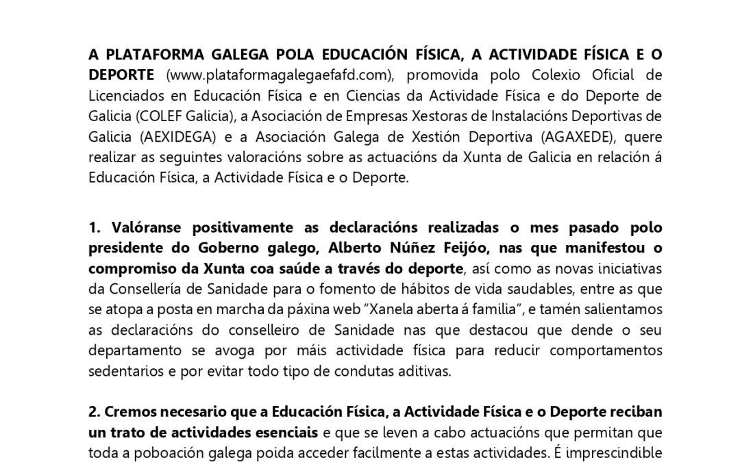 COMUNICADO PLATAFORMA GALEGA EFAFD SOBRE ACTUACIÓNS DA XUNTA DE GALICIA (29/04/2021)