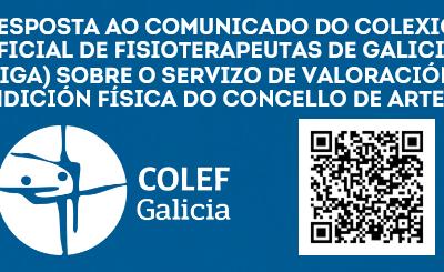 RESPOSTA AO COMUNICADO DO COFIGA SOBRE O SERVIZO DE VALORACIÓN DA CONDICIÓN FÍSICA DE ARTEIXO (04/05/2021)