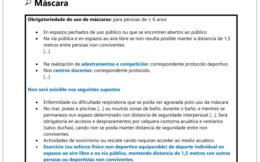 NOVIDADES SANITARIAS QUE AFECTAN Á PRÁCTICA DEPORTIVA (23/10/2021)