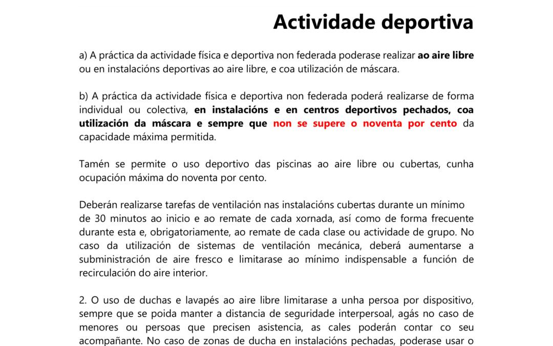 NOVIDADES SANITARIAS QUE AFECTAN Á PRACTICA DEPORTIVA (08/10/2021)